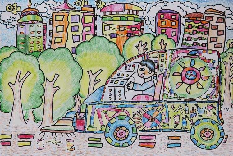 《环保吸垃圾》 中国儿童环保教育计划暨中国儿童环保绘画大赛获奖图片
