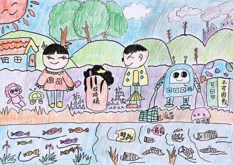 """计划暨中国儿童环保绘画大赛获奖作品 杨博乔(沈阳) 6岁 """"小朋"""