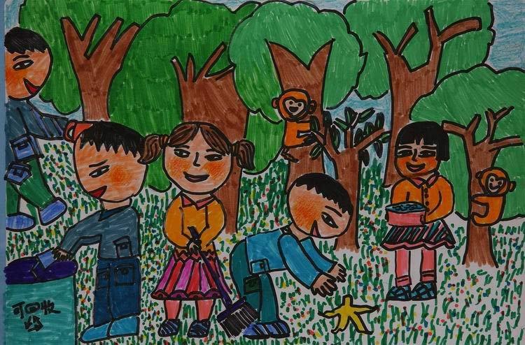 组图:中国儿童环保画之环卫工人