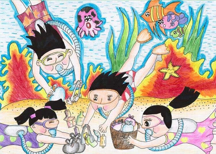《海底清洁小分队》 中国儿童环保教育计划暨中国儿童环保绘画大赛图片