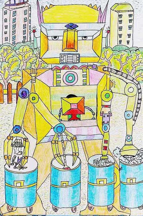 《清理垃圾的机器人》 中国儿童环保教育计划暨中国儿童环保绘画大赛