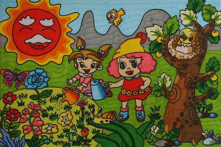 关于儿童画环保的画作品