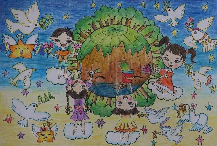 """王凯仪(辽宁) 9岁 """"让我们从小就知道破坏环境的危害,保护环境的重要.图片"""