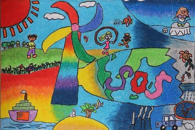 《风车转动》 中国儿童环保教育计划暨中国儿童环保绘画大赛获奖作品图片