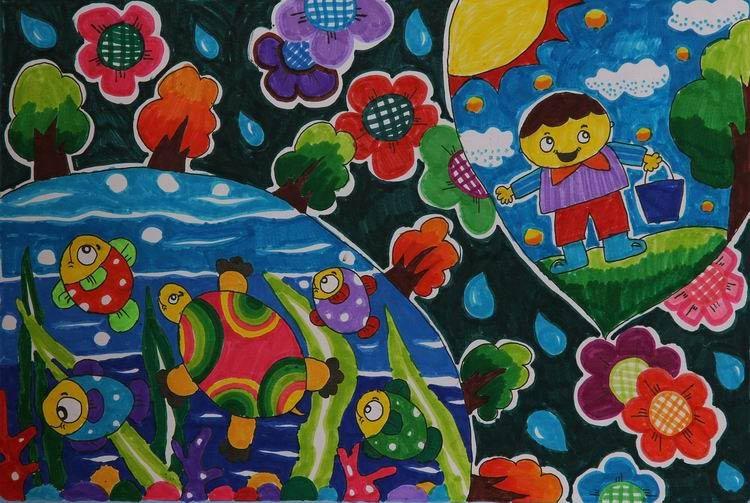《节约用水》 中国儿童环保教育计划暨中国儿童环保绘画大赛获奖作品图片