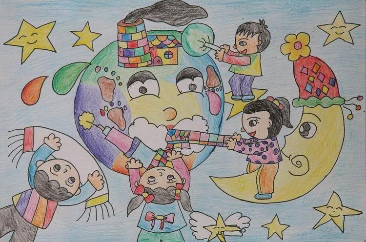 """[组图]主题画""""保护地球""""; 儿童环保绘画大赛作品"""