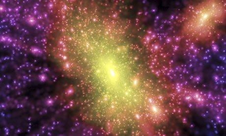 关于暗物质的电脑模拟图。该图演示了不可见暗物质是如何在光环中结合的。