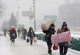 北京市民顶风冒雪出行