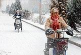 呼和浩特市民冒雪出行