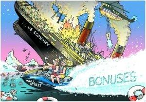 """美国经济这艘""""大船""""遭遇打击仍未恢复,华尔街高管却凭借巨额奖金逍遥度日。"""