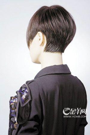 俏皮式   发式要点:基本雷同于近年的男式斜刘海发型,发尾作起脚图片