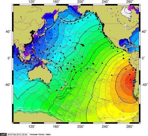 智利地震引发海啸下午15时到达我国大陆沿海