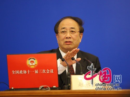 全国政协十一届三次会议副秘书长、大会发言人赵启正。中国网 胡迪