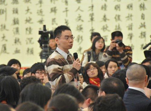 图文:台湾中天电视台记者提问