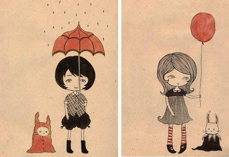 唯美小女孩背影图片卡通