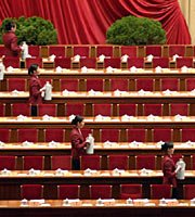 高清组图:政协会议开幕式前的准备