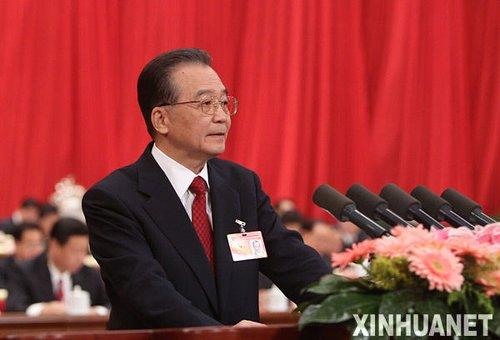 3月5日,第十一届全国人民代表大会第三次会议在北京人民大会堂开幕。国务院总理温家宝作政府工作报告 (刘卫兵摄)