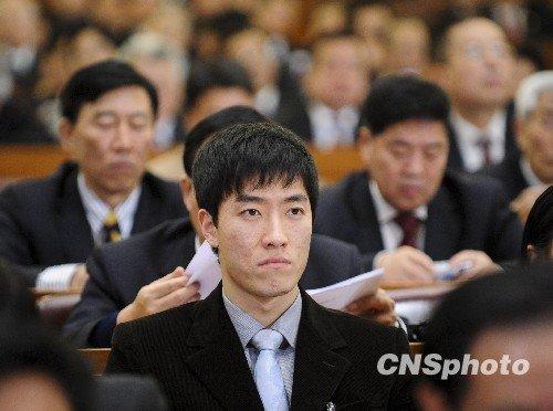 3月3日下午,政协委员刘翔在北京出席全国政协十一届三次会议开幕式。(廖攀摄)