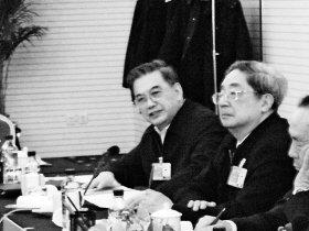 李金华(左一)谈国企直言不讳 本报特派北京记者 窦仲 摄