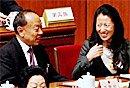 组图:人大开幕 大杨扬与李肇星欢笑交谈