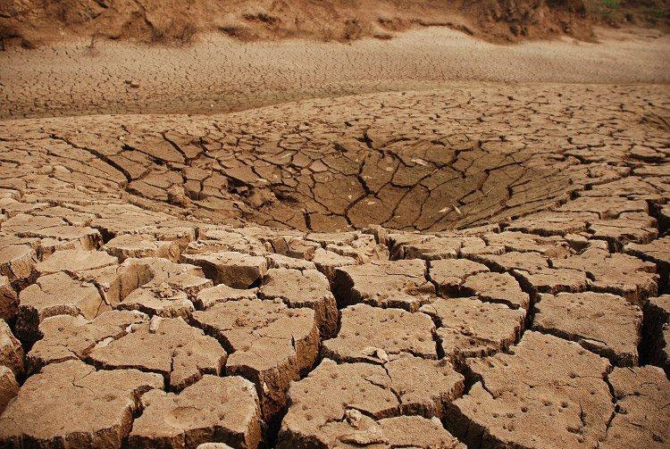 因大旱而凹陷的河床。