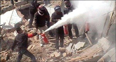 村民遭拆迁人员持灭火器喷射殴打(图)