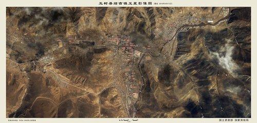 结古镇震后卫星影像地图(点击图片可放大)