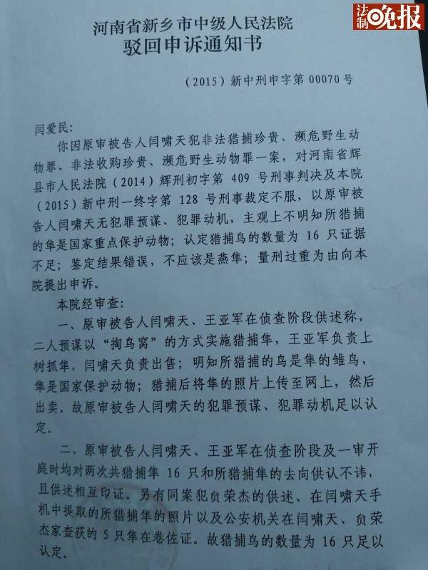 """河南中级法院驳回""""大学生掏鸟被判十年""""申诉"""