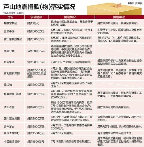 芦山地震捐款调查:大部分到位 苹果捐款模糊