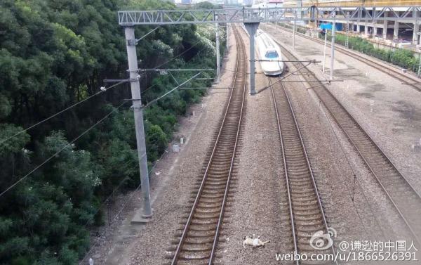 上海1名男子从天桥跳下 被和谐号列车撞死