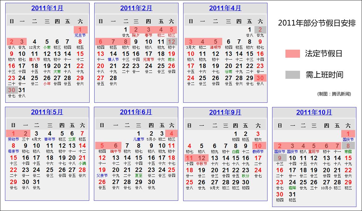 国务院办公厅公布2011年部分节假日安排通知