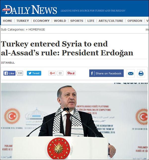 埃尔多安:土耳其军队进入叙利亚是为推翻阿萨德