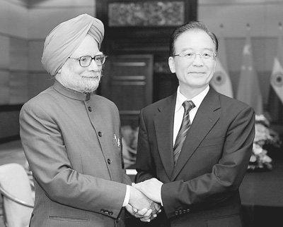 温家宝会见印度总理辛格