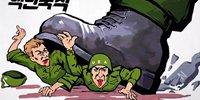 朝鲜海报上美国士兵被踩在脚下