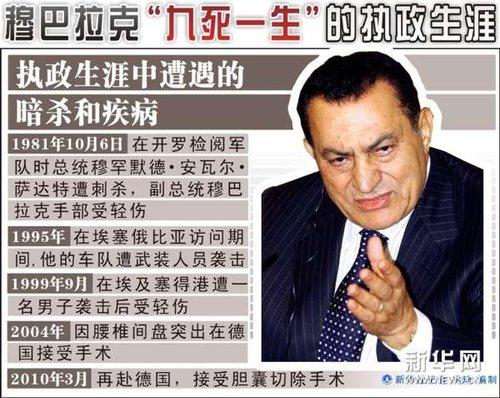 埃及前总统穆巴拉克今受审 能否出庭仍不确定