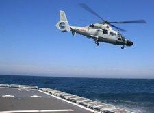 中国反潜直升机升空搜索潜艇