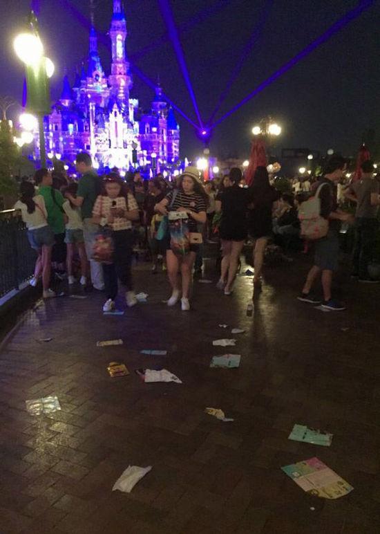 上海迪士尼开园现不文明现象 男孩草地上大便