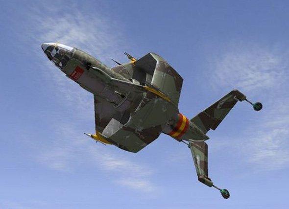 采用双向旋翼引擎,搭载5架喷气式战斗机,是像挂炸弹一样挂在机腹机翼