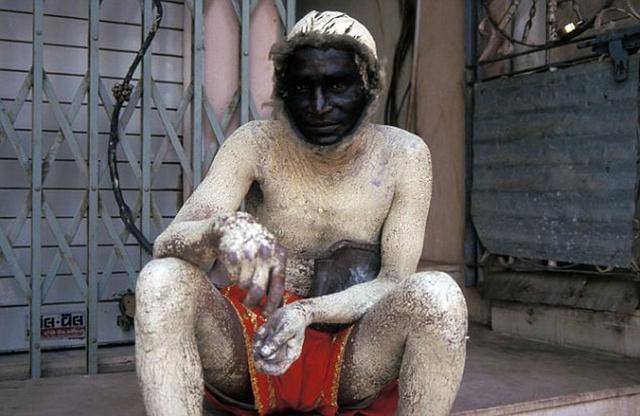 印度新德里政府雇佣保安扮叶猴驱赶猕猴(图)