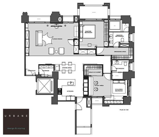 以室内空间v空间至上的台湾两室现代住宅用cad的数图元怎么同一个数图片