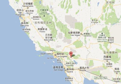 安纳伯格庄园(图中红点处)位于加利福尼亚州兰乔米拉日地区,地处沙漠边缘,距离洛杉矶约200公里。图片来源:谷歌地图
