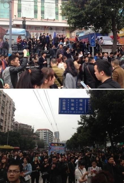 """高清图—广州沙河大街金马服装城小偷喊""""有人砍人"""" 引群众逃散"""