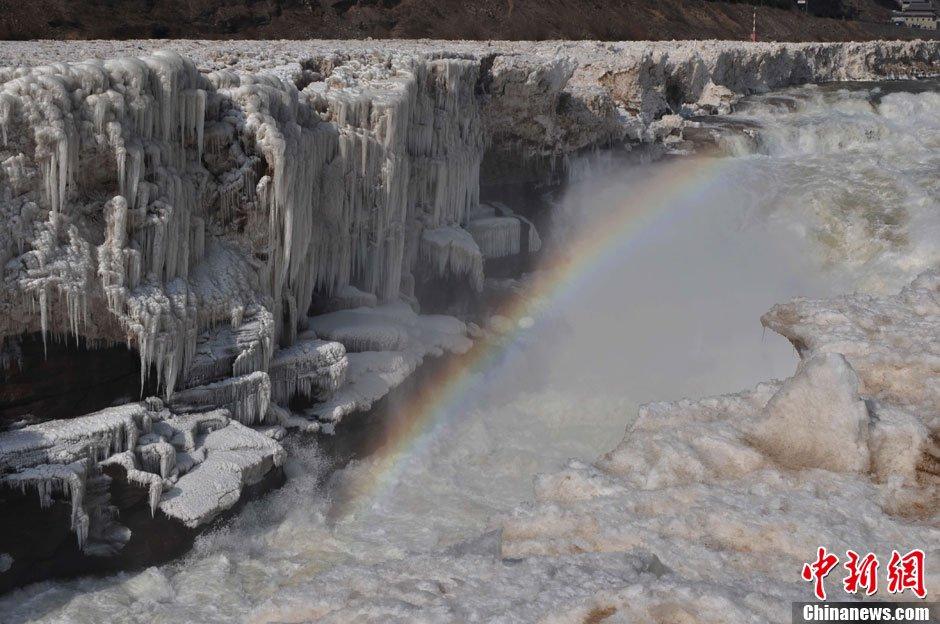 高清组图 山西吉县黄河壶口再现冰瀑奇观