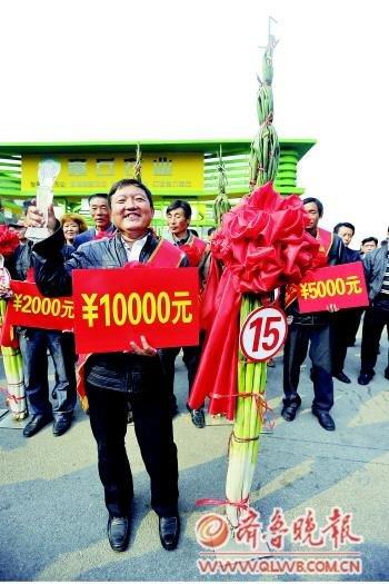 山东农民种出巨型大葱高2.23米 获1万元奖金
