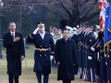 胡锦涛出席奥巴马隆重的欢迎仪式