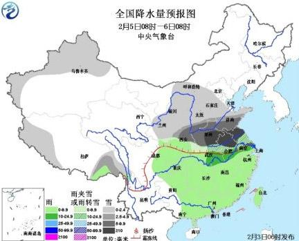 正月初六全国降水量预报图