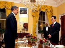白宫公布胡锦涛奥巴马私人晚宴照片