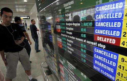 """""""尼格""""登陆影响海南 沪返程游客滞留海南机场"""