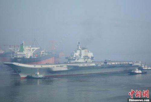 中国航母平台第十次海试出航 将迎台风洗礼(图)
