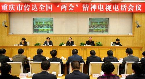 """重庆市召开传达全国""""两会""""精神电视电话会议"""